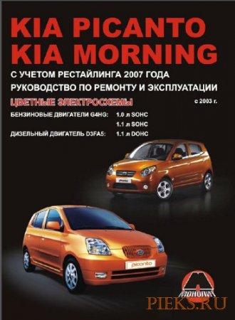 Руководство по ремонту и эксплуатации автомобиля Kia Picanto & Kia Morning с 2003 г. выпуска